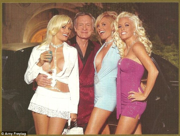 Hugh Hefner And Wife Crystal Pose For Playboy Mansion