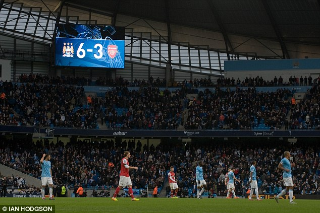 Game, set and match: The scoreboard shows the emphatic nature of City's victory