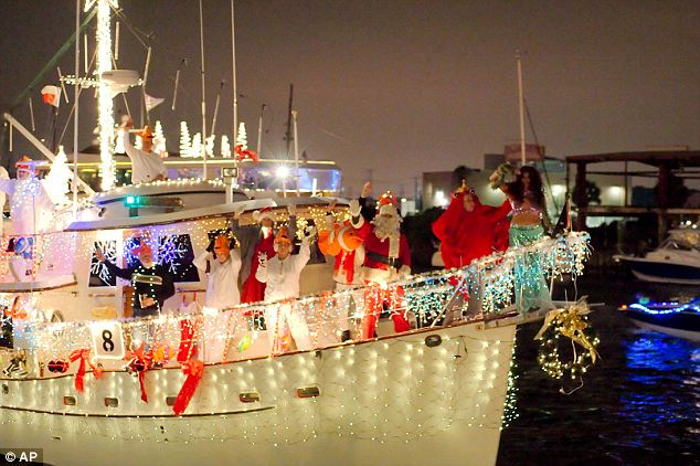 Sailors Light Up The Night With Festive Christmas Boat