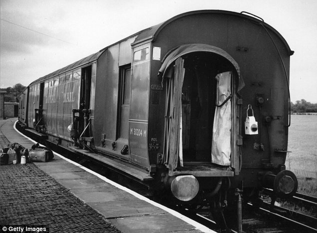 Target: The train after it had been ransacked by Biggs and his fellow thieves in Buckinghamshire