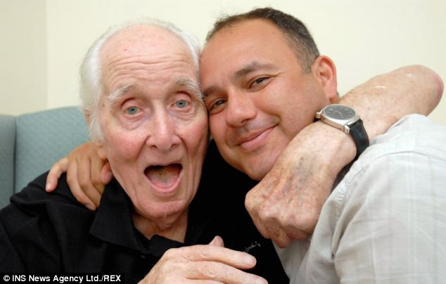 Old age: Biggs with his son Michael who paid tribute to his father and said he hoped to bury his ashes in Brazil