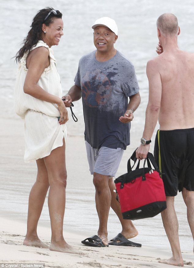 Friendly: A few days ago Russell Simmons was spotted chatting to his ex-wife's new love on the beach