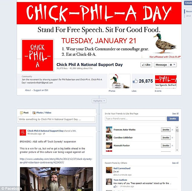Fast food and freedom: The Facebook page for a planned 'Chick-Phil-A Day' in support of Phil Robertson