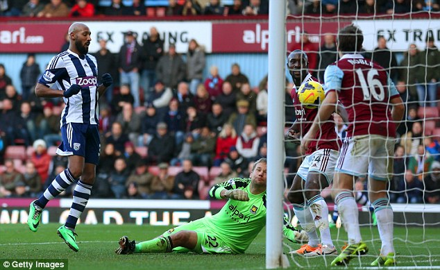 Doubling up: Anelka (left) is on the spot to score West Brom's second goal of the afternoon