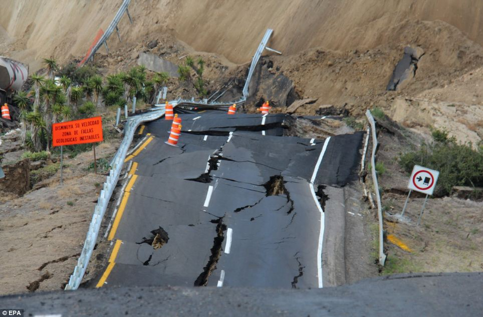Fault line: Days before the road collapsed, several small earthquakes were recorded in the area and cracks started to appear in the road