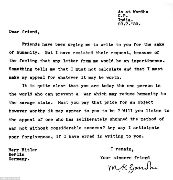 Plea: Gandhi wrote to Hitler and told him that he alone could prevent the world from descending into savage conflict