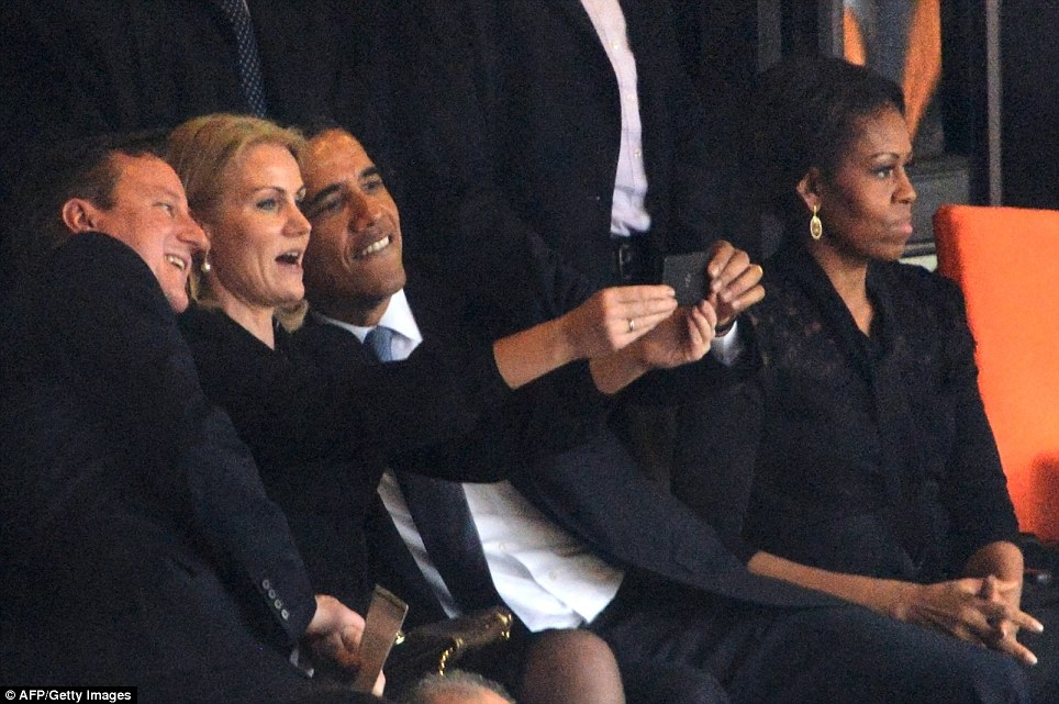 One of the most famous selfies from 2013 was taken of U.S. President Barack Obama (right) and British Prime Minister David Cameron by Denmark's Prime Minister Helle Thorning Schmidt (centre) at Nelson Mandela's memorial, pictured