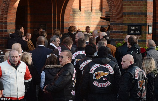 Mourners: Hells Angel bikers and other wellwishers attend the funeral in north London