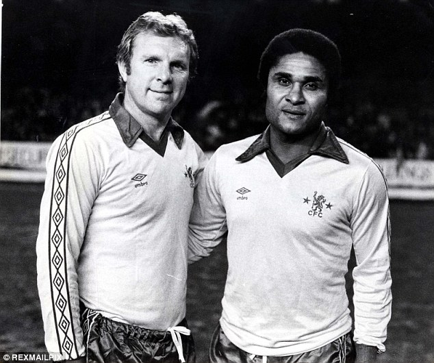 Legends united: Eusebio with Bobby Moore in 1980