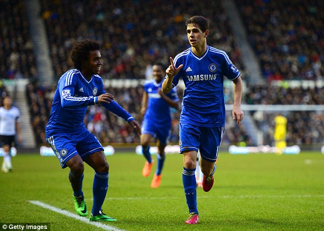 Job done: Oscar (right) is congratulated by Willian after doubling Chelsea's lead