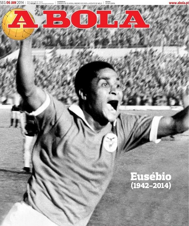 Tribute: The front page of A Bola pays homage to Eusebio on Monday