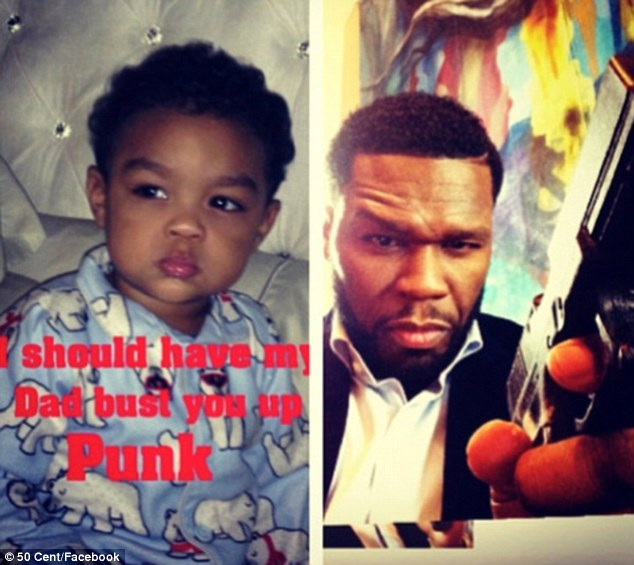 Second-time father: 50 Cent shared several intimate snaps of his 16-month-old son Sire Jackson with girlfriend Daphne Joy for the first time ever on Monday