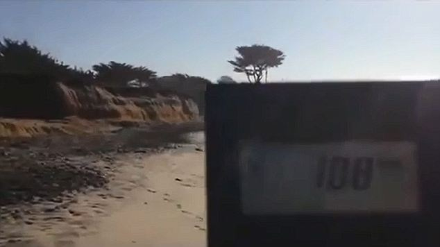 Dangerous: A beach in San Francisco contains five times the safe levels of radiation. In this picture the radiation device is in the foreground with the beach in the background