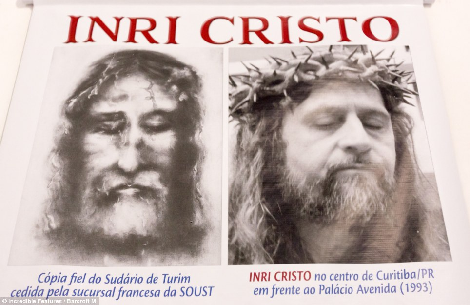 He's alive! Inri Cristo in a photo of himself wearing his own version of the Shroud of Turin, circa 1993, set to prove that he is the resurrection of Jesus Christ himself