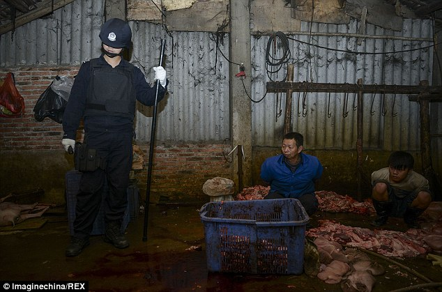 Spread far and wide: The meat was sold at markets, food stalls and restaurants in major cities in China