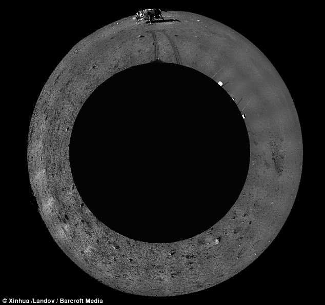 This digitally-combined panoramic photo taken on December 23 shows the moonscape around the Chang'e-3
