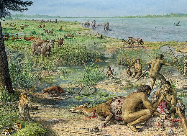 An artist's impression of Happisburgh, Norfolk, when scientists believe it was occupied by an ancient race of humans - who could have been the Homo antecessor or Homo erectus species