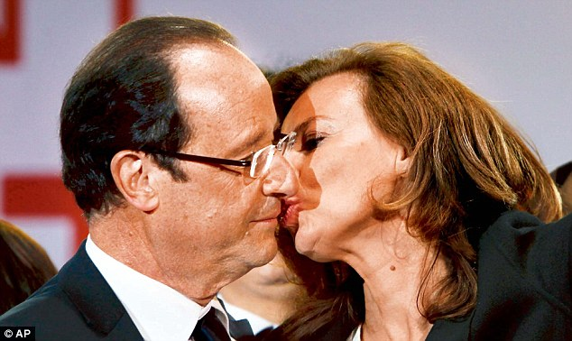 At Hollande¿s presidential victory party, he was filmed kissing Royal on the cheek, only for Trierweiler to then demand he kiss her on the mouth