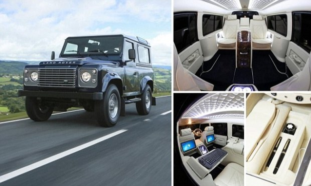 The iconic Land Rover Defender, left, has been given an £80,000 plush makeover, top right, and now boasts a host of luxury items including foldaway tables, a drinks cabinet, on-board computers with Windows 8 and a built-in phone system, right