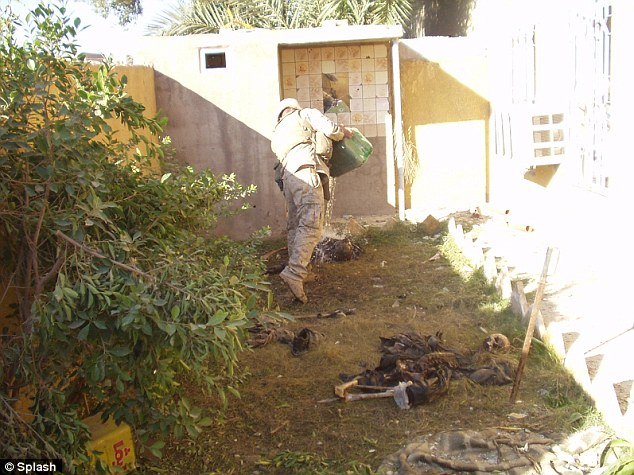 Burning: The explosive photographs, reportedly taken in Fallujah in 2004, appear to show U.S. soldier pouring gasoline on the bodies of Iraqi insurgents