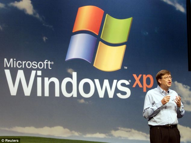 Bill Gates at the Microsoft XP launch in New York October 25, 2001: The firm will finally stop supporting the software on April 8th.