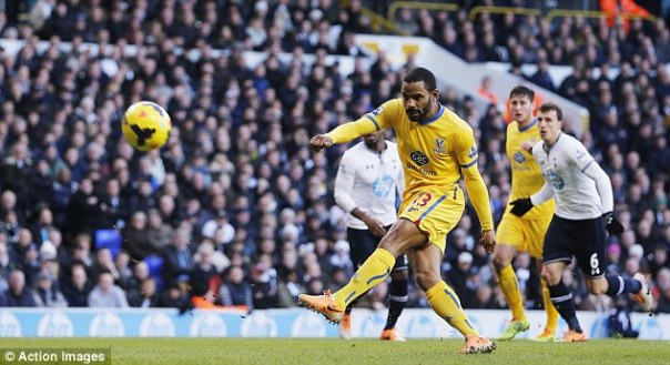Nowhere near: Puncheon sent his penalty against Tottenham well wide of the goal