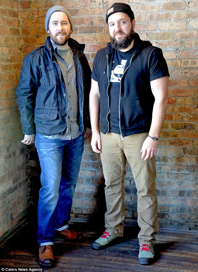 Novel idea: Adam Freck (left) and Andrew Volk (right) said their fashion-forward friends inspired them to tap into the trend for 'meggings' - they are optimistic about the year ahead