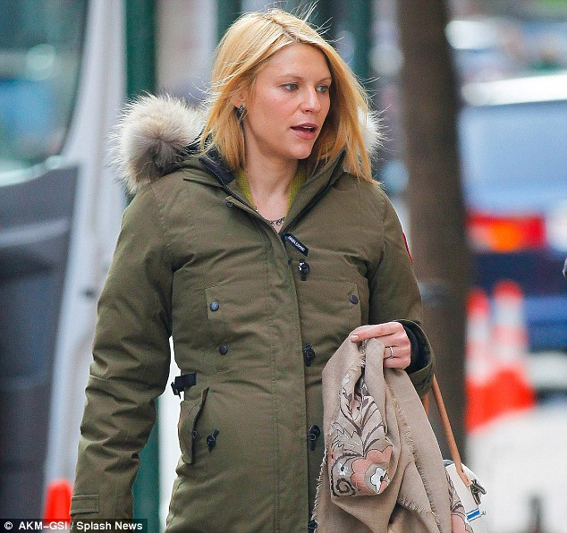 Actress Clare Danes wearing her Canada Goose parka with its distinctive Coyote trim while braving the New York chill