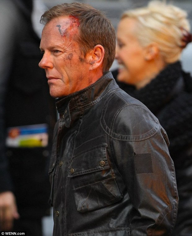 Bloodied but back! Kiefer Sutherland as Jack Bauer in the new 24 series set in London