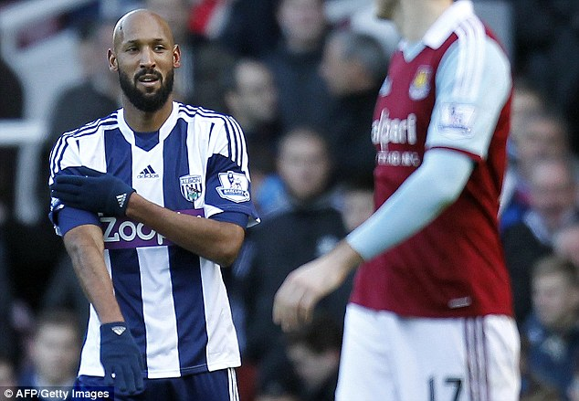 Outrage: Anelka performs the controversial celebration after scoring against West Ham