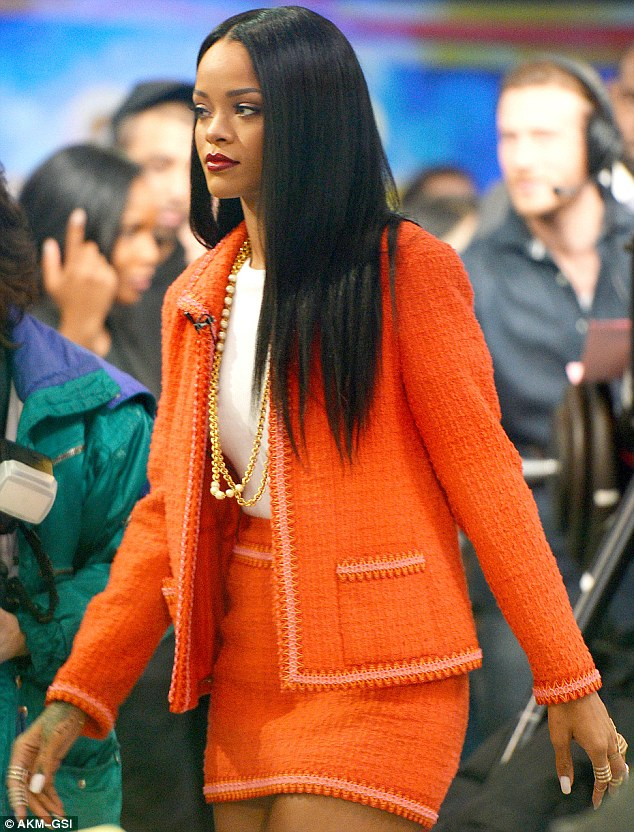 Immaculate make-up: Rihanna was on Good Morning America to promote her MAC Viva Glam lipstick