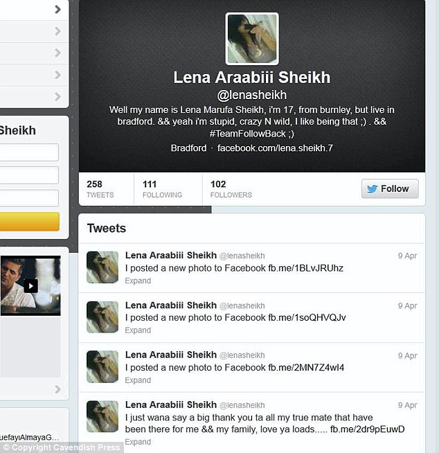 Twitter feed: Lena left messages for her friends and family on social media before she stepped in front of a van