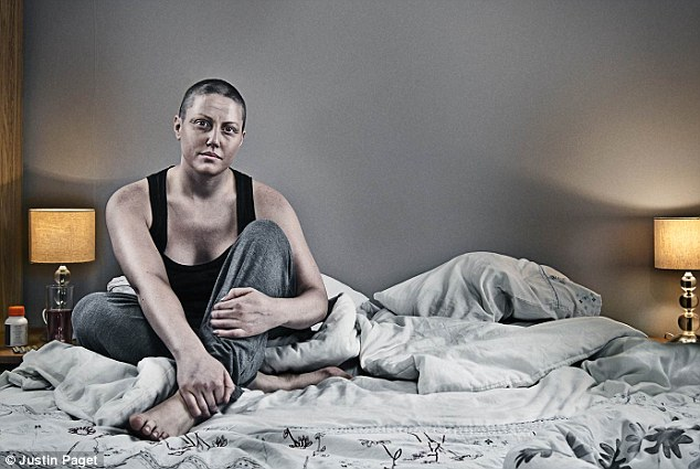 This image, titled 'looking grey and very ill and fed up of being pumped full of drugs', captures Hannah during her chemo