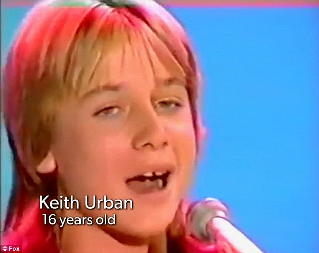 Young talent: Keith Urban was shown on American Idol on Wednesday performing in front of judges as a teenager