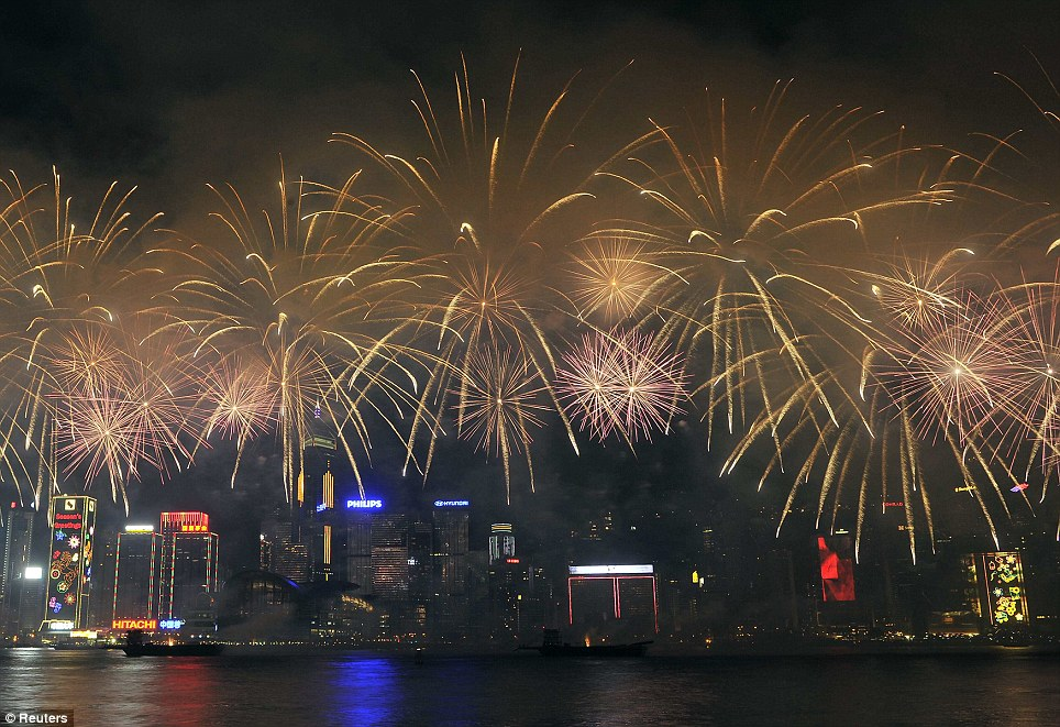 Fireworks in Hong Kong: Fireworks are a large part of Chinese New Year celebrations, but were limited in number this year due to high levels of air pollution over the winter