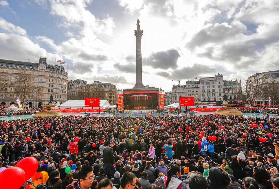 Gathering in the middle of the city: Huge crowds gather in Trafalgar Square to watch the Chinese New Year celebrations