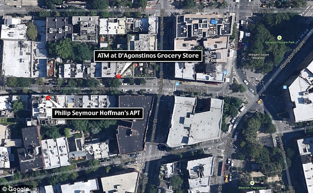 So close: This map shows how near the ATM where Philip Seymour Hoffman withdrew $1,200 to pay his drug dealers is to the West Village apartment he was found dead in