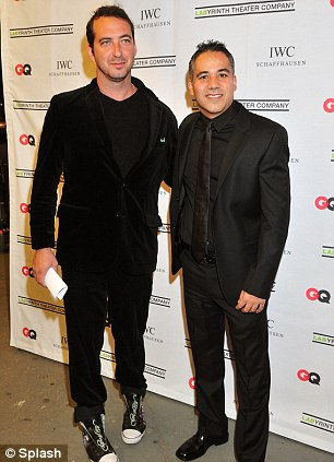 Outlandish claim: David Bar Katz (left and right with John Ortiz) has claimed in an interview on Wednesday that he and tragic Oscar winning actor Philip Seymour Hoffman were gay lovers and that he saw the actor freebasing hard drugs the night before he died