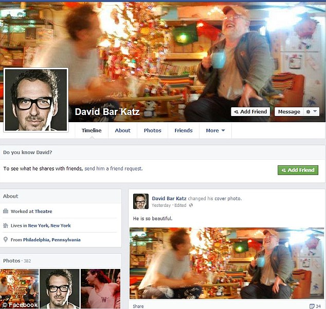 Adoring: This image from the Facebook profile of Philip Seymour Hoffman's alleged gay lover David Bar Katz was posted yesterday with the caption 'He is so beautiful' above a picture of the actor he is now using as his cover picture. On Wednesday, Katz claimed in an interview with the National Enquirer he was involved in a love affair with the Oscar winning actor