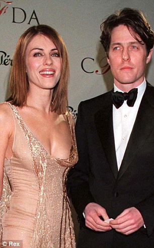 A different affair: Sizemore allegedly had a three-year relationship with Hurley starting in 1992 when she was already dating Hugh Grant (seen with Hurley at left in 1998)