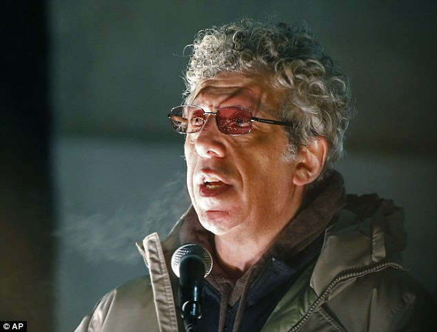 Friend: Actor Eric Bogosian speaks during the candlelight vigil