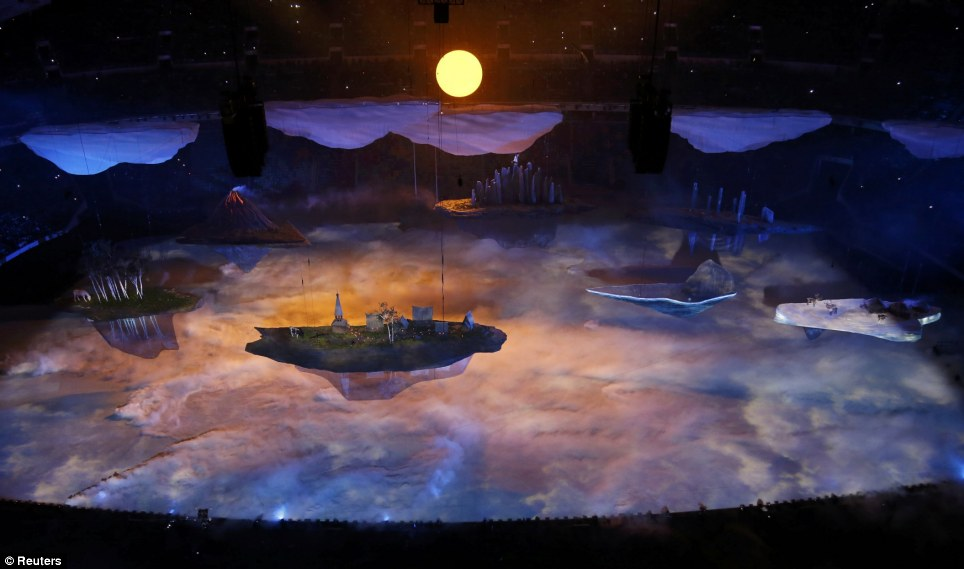 Dreamy landscape: The floats each represented one specific area of Russia, and were moved around the Fisht Stadium with the help of four kilometres of rail on the roof