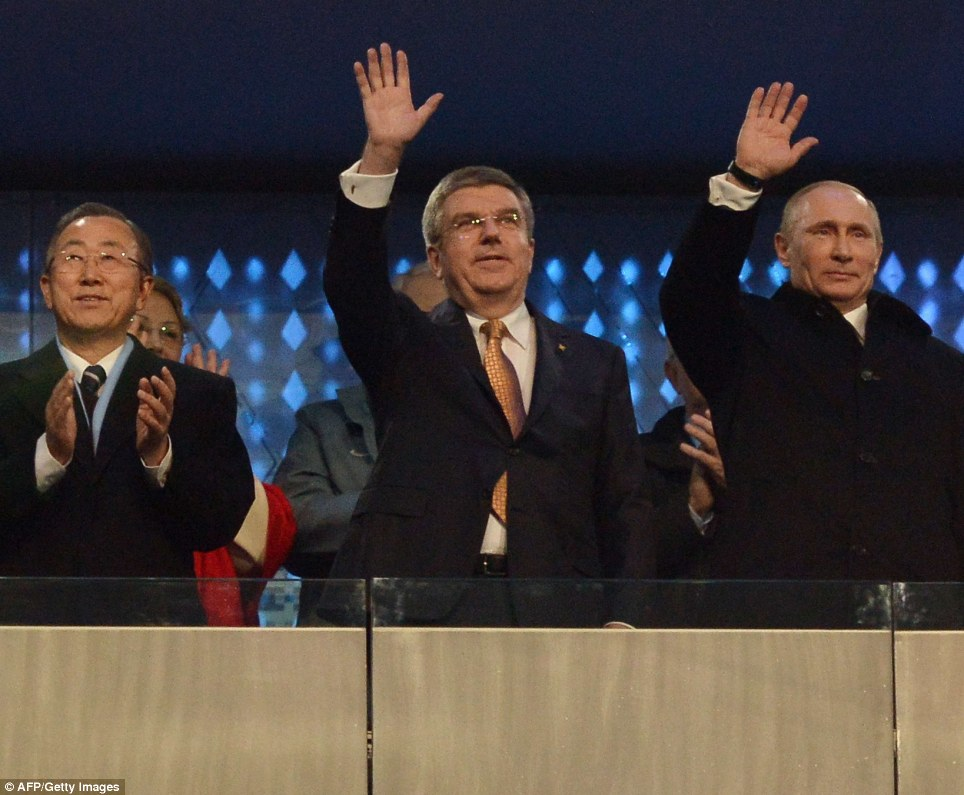 Stern faces: Russian President Vladimir Putin, second from right, International Olympic Committee President Thomas Bach, centre, and United Nations Secretary-General Ban Ki-moon, third from left, attend the opening ceremony