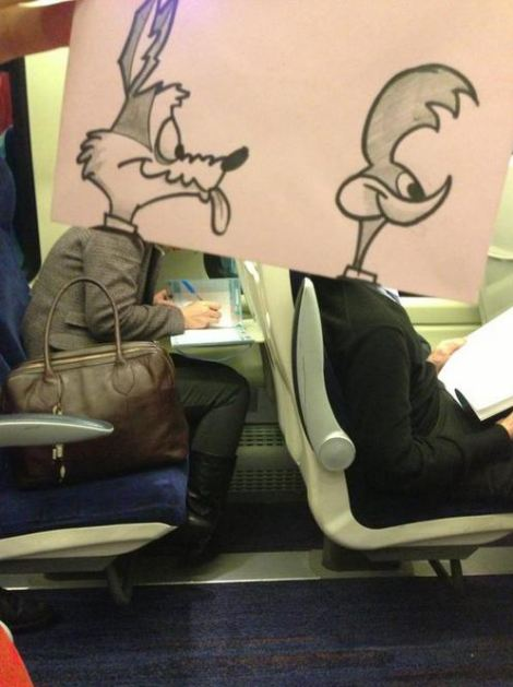 Sketch: October Jones, aka animator Joe Butcher, has transformed his fellow train passengers into Wile E. Coyote and The Road Runner with the aid of just a few pens and some well placed paper
