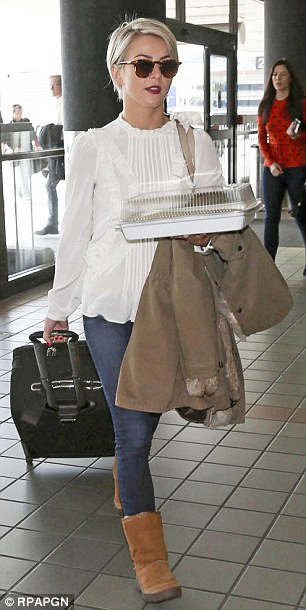 Julianne Hough Shows Off New Pixie Cut While At LAX
