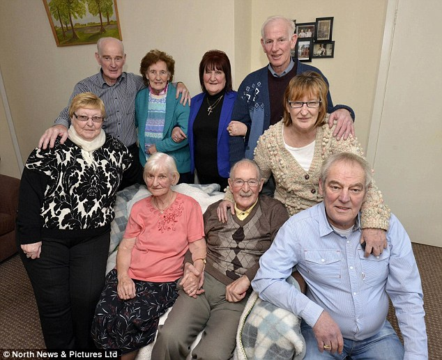 Tight-knit: Jean Ewart, 71, says the whole family is still extremely close.  Pictured are (back row, L-R), James, 76, May, 79, Jean, John, 69, and Marion, 74, and (front row, L-R), Winifred, 83, Bernadette, 89, William, 87, and Robert, 68