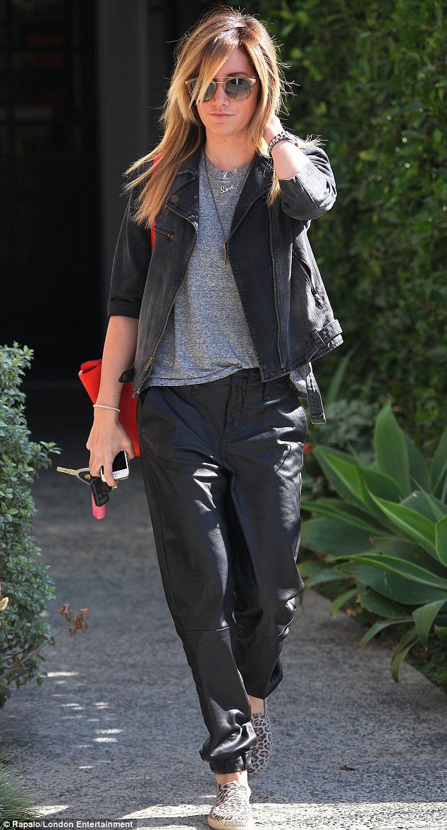 Ashley Tisdale sports Kanye Wests favourite leather tracksuit bottoms  Daily Mail Online