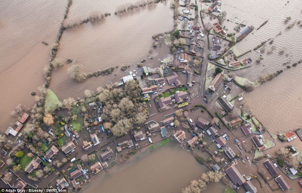 The village of Moorland, on the Somerset levels, has been evacuated as the water levels rose, as people fled their homes and livelihoods to escape the torrential rain