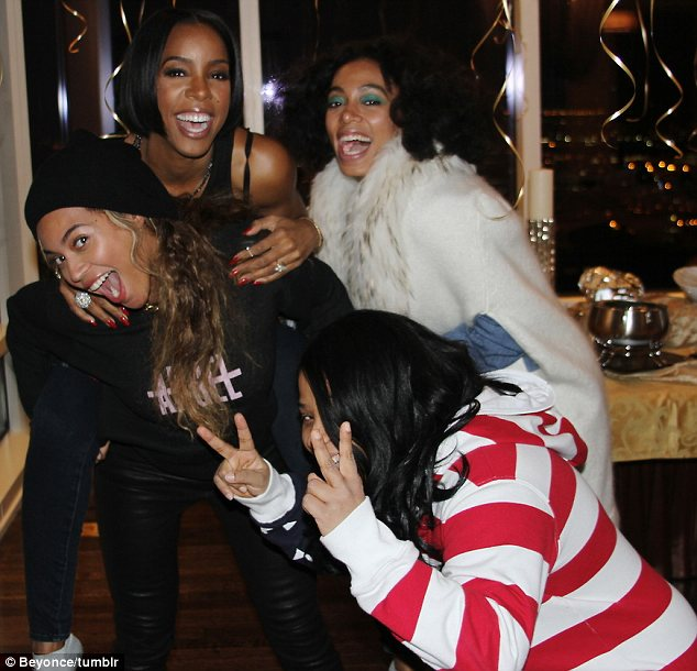Party time: Some other pals got involved but there was no sign of their Destiny's Child bandmate Michelle Williams