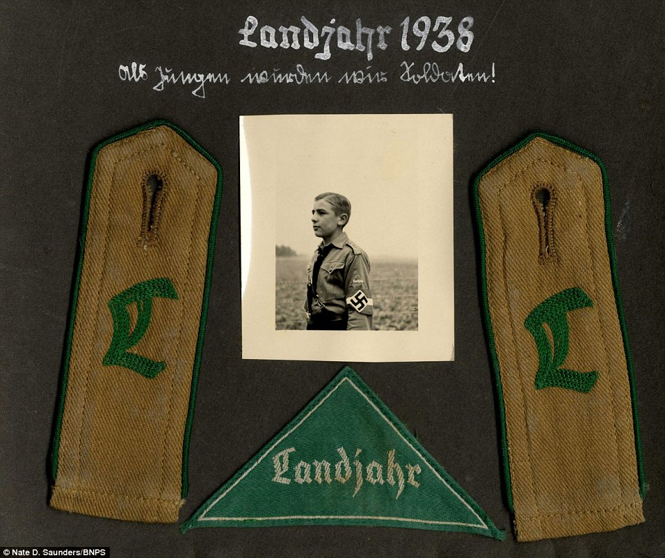 Memento: Friedhelm apparently kept the photos and his uniform patches, but they were looted by an Allied soldier